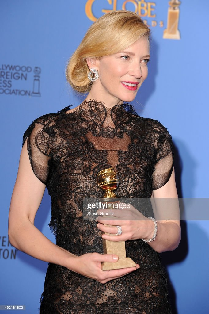 Actress Cate Blanchett poses in the press room during the 71st Annual Golden Globe Awards held at The Beverly Hilton Hotel on January 12, 2014 in Beverly Hills, California.