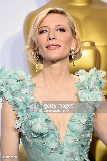 Actress Cate Blanchett poses in the press room during the 88th Annual Academy Awards at Loews Hollywood Hotel on February 28 2016 in Hollywood...