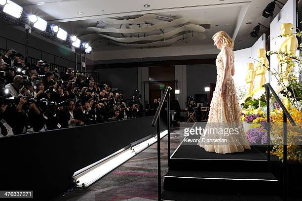 Actress Cate Blanchett poses in the press room during the Oscars at Loews Hollywood Hotel on March 2 2014 in Hollywood California