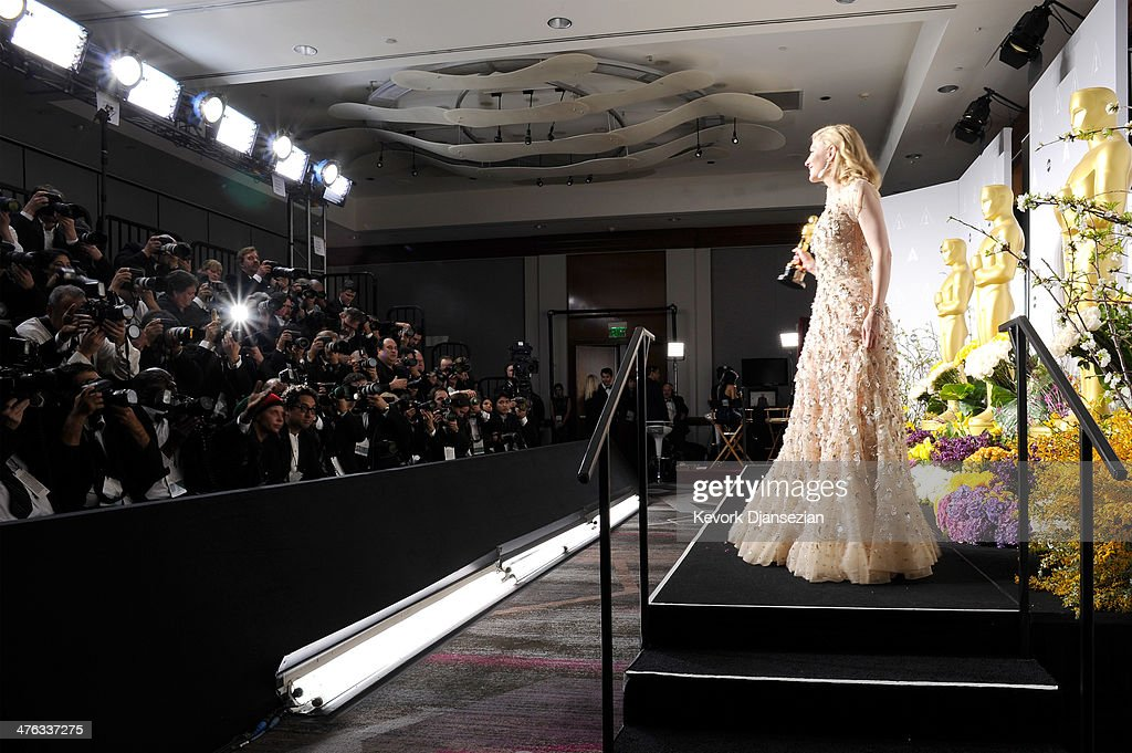 Actress Cate Blanchett poses in the press room during the Oscars at Loews Hollywood Hotel on March 2, 2014 in Hollywood, California.