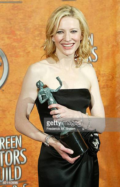 Actress Cate Blanchett poses with her award for Outstanding Performance by a Female Actor in a Supporting Role in the press room at the 11th Annual...