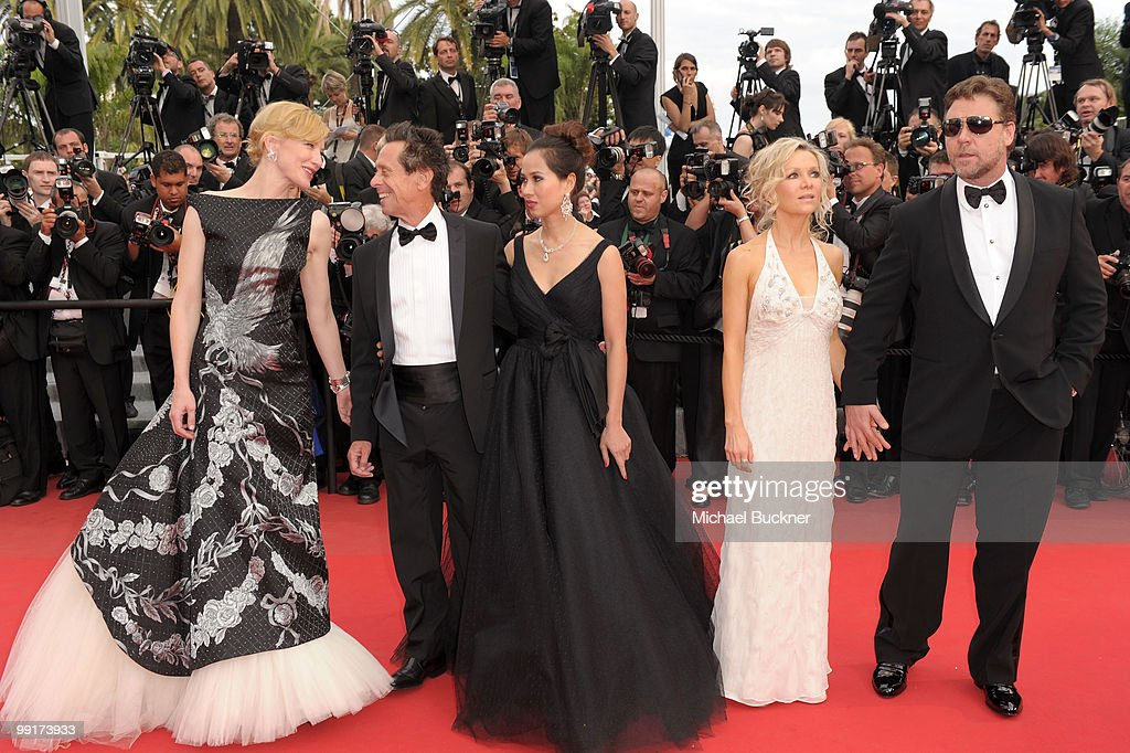 Actress Cate Blanchett, Producer Brian Grazer, Chau-Giang Thi Nguyen, Danielle Spencer and actor Russell Crowe attend the 'Robin Hood' Premiere at the Palais des Festivals during the 63rd Annual Cannes Film Festival on May 12, 2010 in Cannes, France.