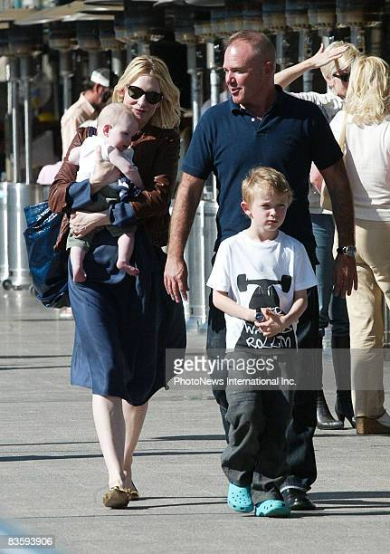 Actress Cate Blanchett son Ignatius Martin Upton husband Andrew Upton and son Dashiell John enjoy lunch at Woolloomooloo Wharf on October 25 2008 in...