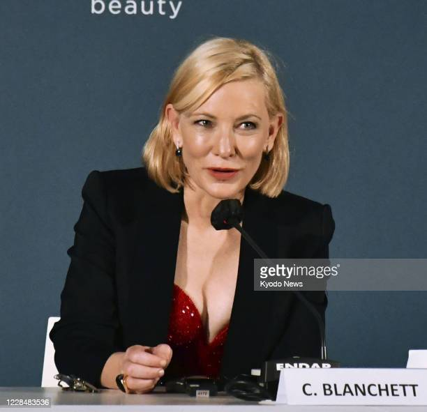Actress Cate Blanchett speaks during a press conference following the award ceremony at the 77th Venice International Film Festival on Sept 12 2020...