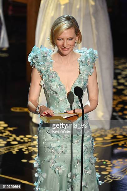 Actress Cate Blanchett speaks onstage during the 88th Annual Academy Awards at the Dolby Theatre on February 28 2016 in Hollywood California