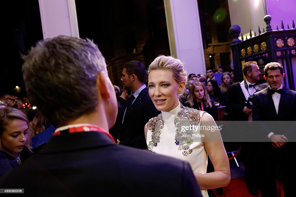 Actress Cate Blanchett talks to a reporter as she attends the BFI London Film Festival Awards at Banqueting House on October 17, 2015 in London, England.