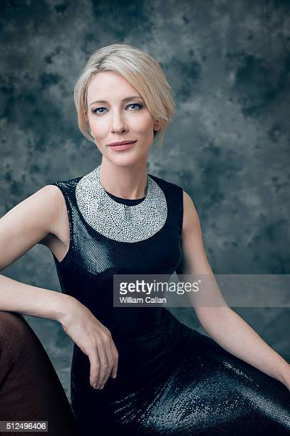 Actress Cate Blanchett wearing Versace Couture poses for a portrait at the 18th Costume Designers Guild Awards at The Beverly Hilton Hotel on...