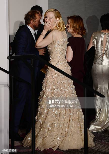 Actress Cate Blanchett winner of Best Actress for Blue Jasmine poses in the press room during the Oscars at Loews Hollywood Hotel on March 2 2014 in...