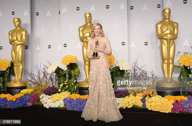 Actress Cate Blanchett winner of Best Actress for 'Blue Jasmine poses in the press room during the Oscars at Loews Hollywood Hotel on March 2 2014 in...