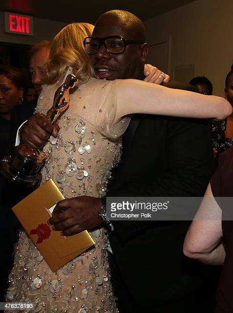 Actress Cate Blanchett winner of Best Performance by an Actress in a Leading Role and director Steve McQueen winner of Best Motion Picture for 12...