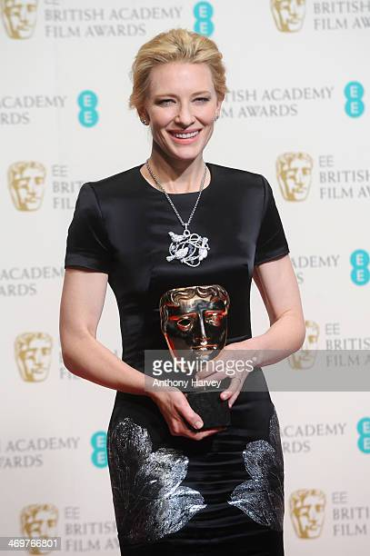 Actress Cate Blanchett winner of the Leading Actress award poses in the winners room at the EE British Academy Film Awards 2014 at The Royal Opera...