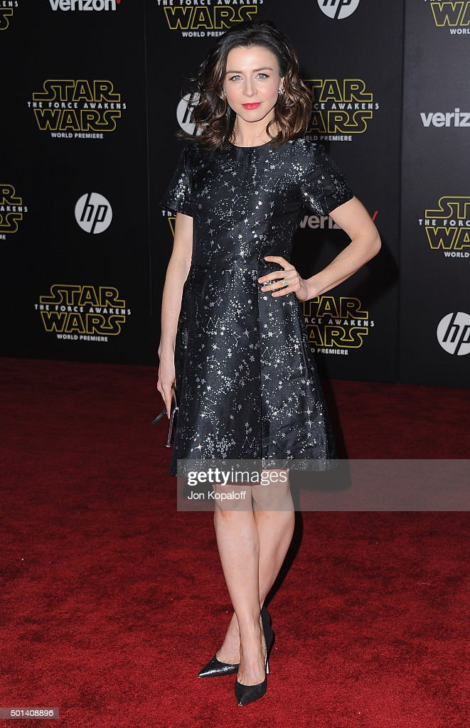 Actress Caterina Scorsone arrives at the Los Angeles Premiere 'Star Wars: The Force Awakens' on December 14, 2015 in Hollywood, California.