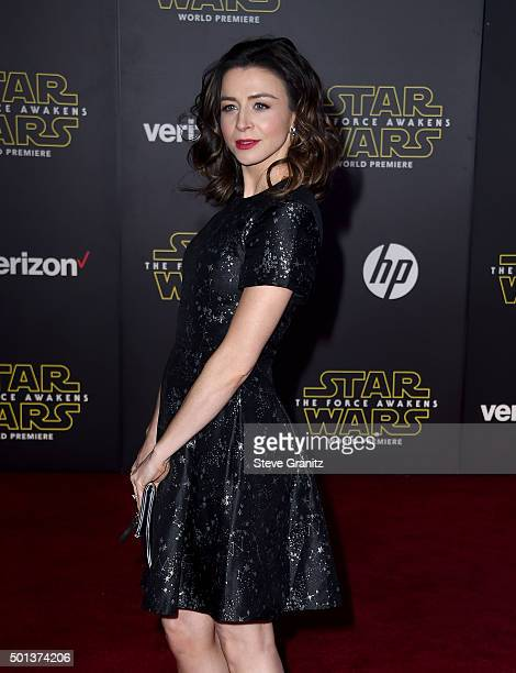 Actress Caterina Scorsone arrives at the premiere of Walt Disney Pictures' and Lucasfilm's 'Star Wars The Force Awakens' at the Dolby Theatre TCL...