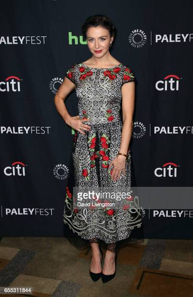 Actress Caterina Scorsone attends The Paley Center for Media's 34th Annual PaleyFest Los Angeles presentation of 'Grey's Anatomy' at Dolby Theatre on...