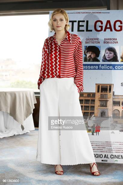 Actress Caterina Shulha attends a photocall for 'Hotel Gagarin' at Hotel Eden on May 22 2018 in Rome Italy