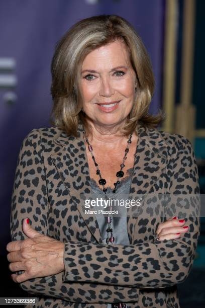 """Actress Catherine Alric attends the """"Le Mensonge"""" : Photocall at Festival Fiction De La Rochelle at Folies Bergeres on September 18, 2020 in Paris,..."""