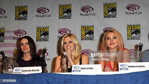 Actress Catherine Annette actress Nikki Griffin and actress Madison Dylan participate in WonderCon Anaheim 2013 Day 1 held at Anaheim Convention...