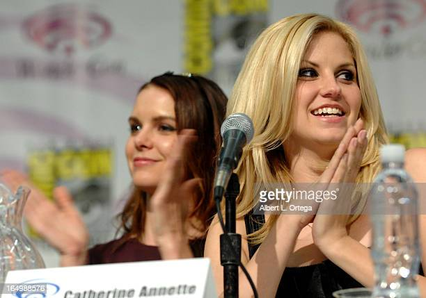 Actress Catherine Annette and actress Nikki Griffin participate at WonderCon Anaheim 2013 Day 1 at Anaheim Convention Center on March 29 2013 in...