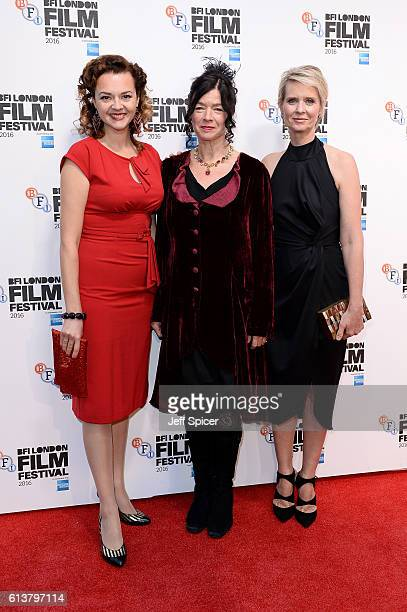 Actress Catherine Bailey Executive Producer Andrea Gibson and actress Cynthia Nixon attend the 'A Quiet Passion' official competition screening...