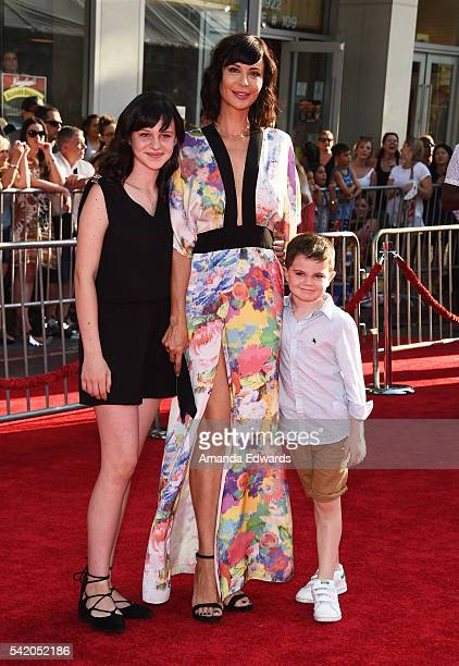 Actress Catherine Bell and her children Gemma Beason and Ronan Beason arrive at the premiere of Disney's The BFG at the El Capitan Theatre on June 21...