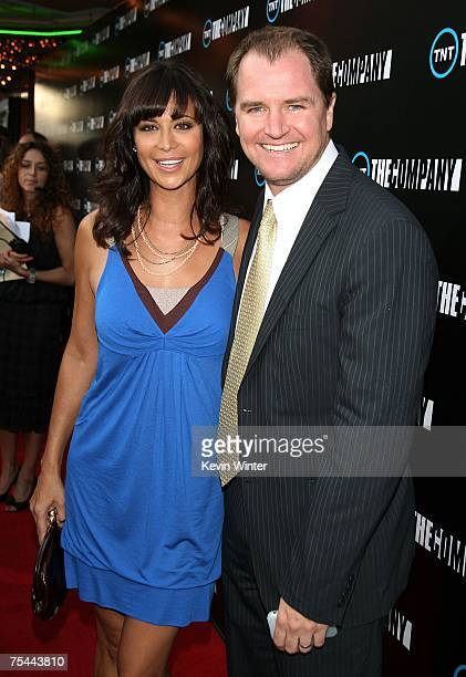 Actress Catherine Bell and husband Adam Beason pose at the premiere screening of TNT's The Company at the Majestic Crest Theater on July 16 2007 in...