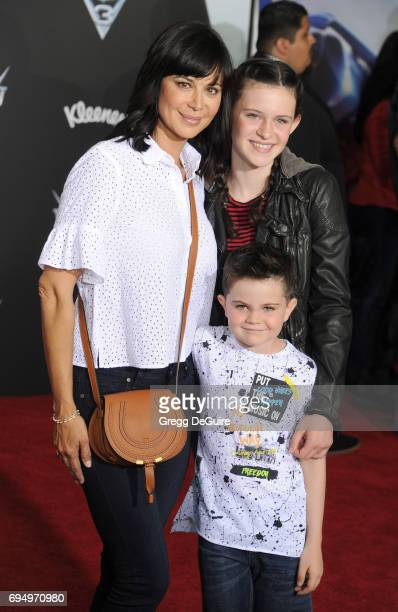 Actress Catherine Bell children Gemma Beason and Ronan Beason arrive at the premiere of Disney And Pixar's Cars 3 at Anaheim Convention Center on...