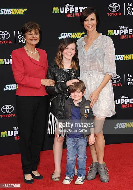 Actress Catherine Bell mom Mina Bell daughter Gemma Beason and son Ronan Beason arrive at the Los Angeles premiere of 'Muppets Most Wanted' at the El...