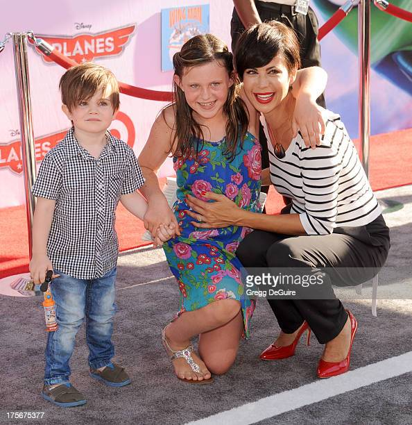 Actress Catherine Bell son Ronan Beason and daughter Gemma Beason arrive at the Los Angeles premiere of Planes at the El Capitan Theatre on August 5...