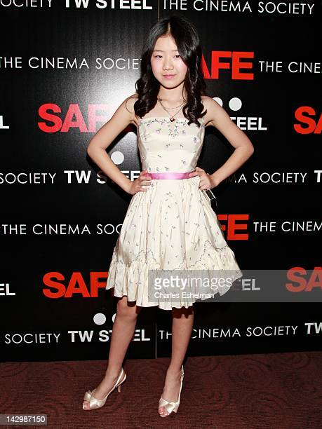 Actress Catherine Chan attends the Lionsgate with The Cinema Society TW Steel premiere of 'Safe' at Clearview Chelsea Cinemas on April 16 2012 in New...