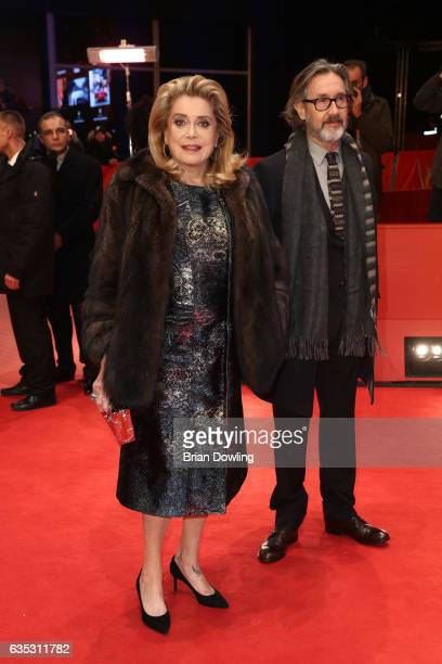 Actress Catherine Deneuve and Director Martin Provost attend the 'The Midwife' premiere during the 67th Berlinale International Film Festival Berlin...