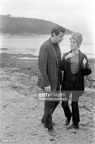Actress Catherine Deneuve and Director Roger Vadim in the South of France, 25th April 1960.