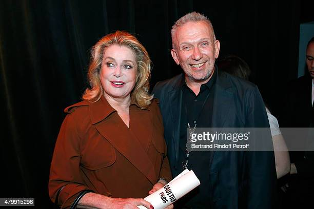 Actress catherine Deneuve and Fashion Designer JeanPaul Gaultier pose Backstage after the Jean Paul Gaultier show as part of Paris Fashion Week...