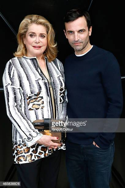 Actress Catherine Deneuve and Fashion Designer Nicolas Ghesquiere pose after the Louis Vuitton show as part of the Paris Fashion Week Womenswear...