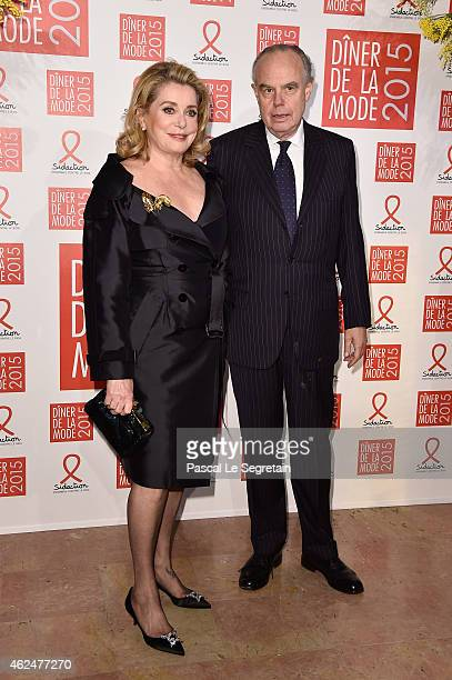 Actress catherine Deneuve and Frederic Mitterrand attend the Sidaction Gala Dinner 2015 at Pavillon d'Armenonville on January 29 2015 in Paris France