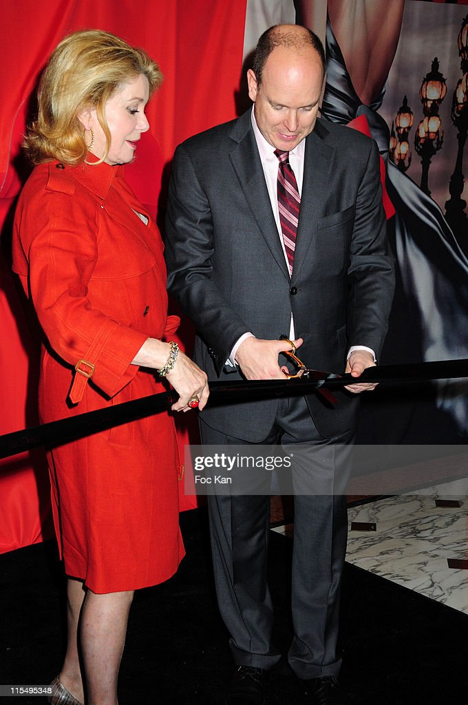 Actress Catherine Deneuve and Prince Albert II of Monaco attend the Hediard Monaco Launch Cocktail at Hediard Store Metropole Center on May 11, 2010 in Monte Carlo, Monaco.