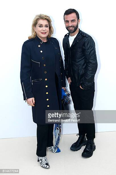 Actress Catherine Deneuve and Stylist Nicolas Ghesquiere pose backstage after the Louis Vuitton show as part of the Paris Fashion Week Womenswear...
