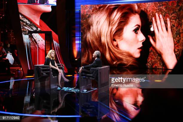Actress Catherine Deneuve appears on Non E' L'Arena at Ex De Paolis Studios on February 11 2018 in Rome Italy