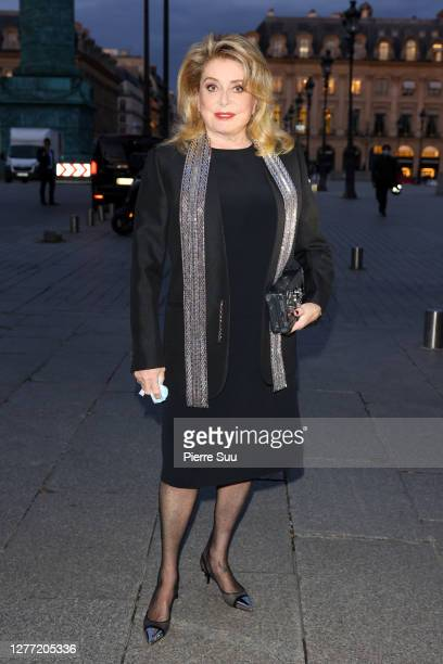 Actress Catherine Deneuve arrives at a Vuitton dinner party on September 28, 2020 in Paris, France.