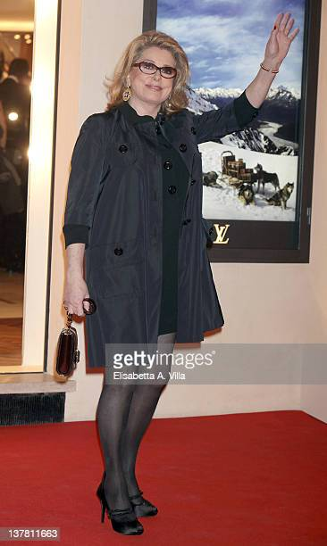 Actress Catherine Deneuve attends Maison Louis Vuitton Roma Etoile Cocktail Red Carpet on January 27 2012 in Rome Italy
