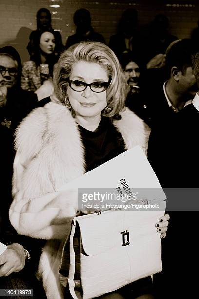 Actress Catherine Deneuve is photographed at the Gaultier Spring/Summer 2012 Haute Couture fashion show for Madame Figaro on January 25 2012 in Paris...
