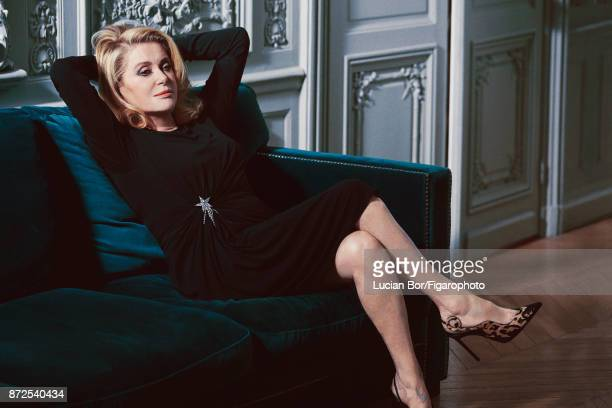 Actress Catherine Deneuve is photographed for Madame Figaro on September 7 2017 in Paris France Dress brooch and shoes Makeup by Dior PUBLISHED IMAGE...