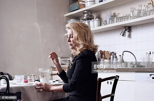 Actress Catherine Deneuve is photographed for Madame Figaro on August 30, 2016 in Paris, France. Dress , ring , handbag . PUBLISHED IMAGE. CREDIT...