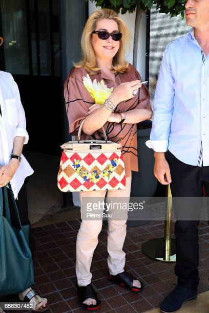Actress Catherine Deneuve is spotted at the 'Majestic 'hotel during the 70th annual Cannes Film Festival on May 21 2017 in Cannes France