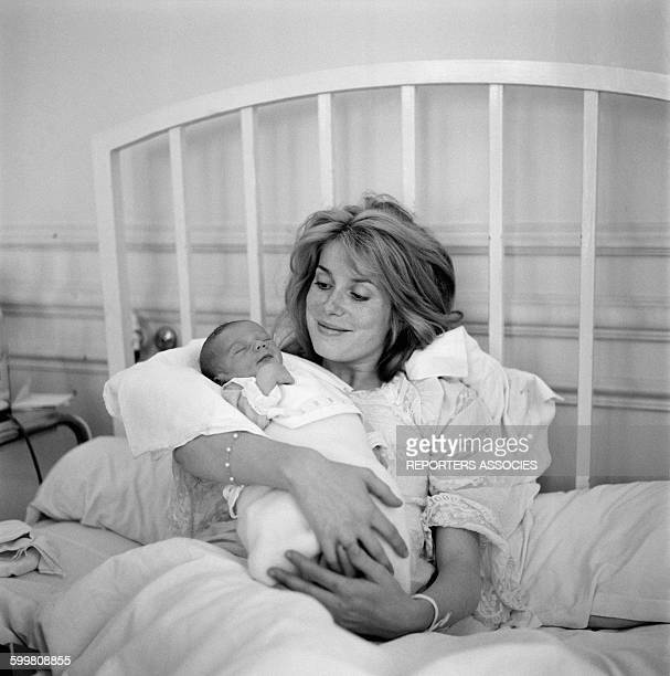 Actress Catherine Deneuve With Son Christian Vadim A Few Days After His Birth, in Paris, France, in June 1963 .