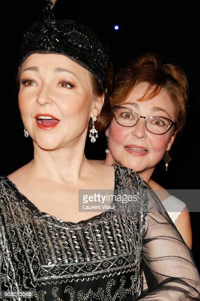 Actress Catherine Frot poses with her wax statue during Catherine Frot waxwork unveiling at Musee Grevin on April 30 2018 in Paris France
