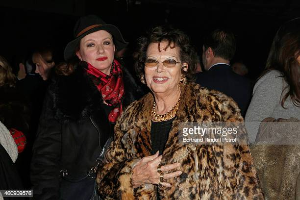 Actress Catherine Jacob and Actress Claudia Cardinale attend in Backstage after the Laurent Gerra Show at Palais des Sports on December 27 2014 in...