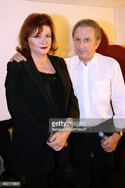 Actress Catherine Jacob and presenter of the show Michel Drucker attend 'Vivement Dimanche' French TV Show at Pavillon Gabriel on November 26 2013 in...