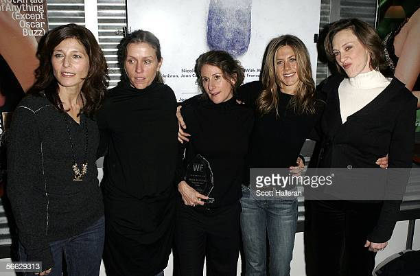 Actress Catherine Keener Frances McDormand director Nicole Holofcener actresses Jennifer Aniston and Joan Cusack pose for photos at the Women in Film...