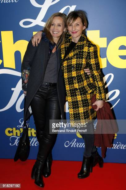 Actress Catherine Marchal and Actress Sophie Mounicot attend the La Ch'tite Famille Paris Premiere at Cinema Gaumont Marignan on February 14 2018 in...