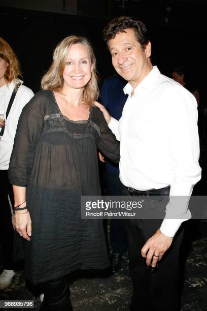 Actress Catherine Marchal and Laurent Gerra attend 'Sans Moderation' Laurent Gerra's Show at Palais des Sports on June 2 2018 in Paris France